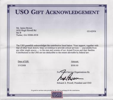 Gift Anknowledgement from the USO