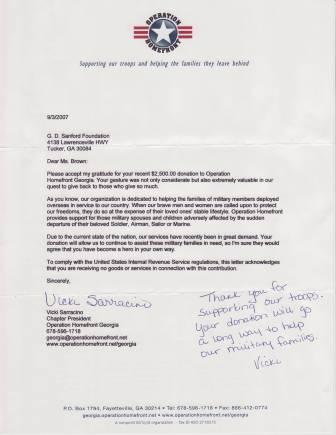 Thank you letter from the Operation HomeFront Organization